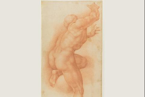 ) Sixteenth century drawing from Ascesa dei Beati, a scene of the Giudizio Universale of Michelangelo Buonarroti, Sistine Chapel